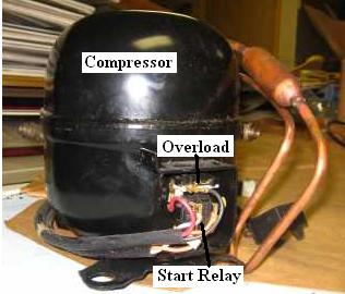 Overload and relay on compressor