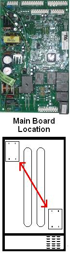 GE electronic refrigerator board location
