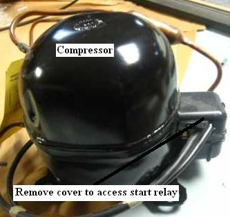 Remove cover to access start relay