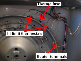 gedryerheaterthermostatcheck ge dryer not heating repair guide Electric Dryer Fuse Location at crackthecode.co