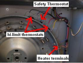 gedryerheaterthermostatcheck3 ge dryer not running repair guide ge dryer start switch wiring diagram at edmiracle.co