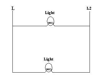 this diagram is the same as the first one only this time you should notice  that the lights run off of 240v because the circuit is connected between a  l1 and