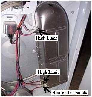locator view for whirlpool dryer models with the heater compartment under  the drum (back cannot be removed)